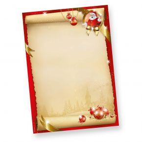 Santa Claus Briefpapier Weihnachten (50 Blatt) DIN A4 90 g/qm Weihnachtsbriefpapier bedruckt