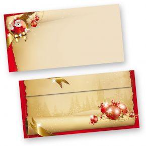 Briefumschläge Weihnachten Santa Claus (50 Stück ohne Fenster) Din lang ohne Fenster Umschläge für Weihnachten selbstklebend haftklebend