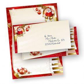 Weihnachtsbriefpapier Set Musik (10 Sets ohne Fenster) wunderschönes Briefpapier Weihnachten mit musikalischer Weihnachtsmann, inkl. passender Briefumschläge (ohne Fenster)