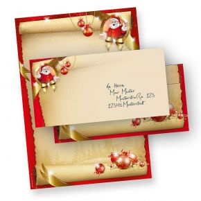 Briefpapier Weihnachten Set Santa Claus (25 Sets ohne Fenster) DIN A4 297 x 210mm 90 g/qm, Weihnachtsbriefpapier mit Umschläge