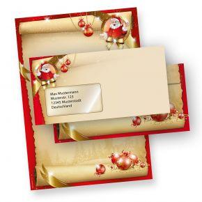 Briefpapier Weihnachten Set Santa Claus (25 Sets mit Fenster) DIN A4 297 x 210mm 90 g/qm, Weihnachtsbriefpapier mit Umschläge