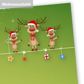 RENTIERE Weihnachtsbriefpapier (250 Blatt) wunderschönes Briefpapier Weihnachten DIN A4 mit 3 en Rentieren - Rückseite auch bedruckt