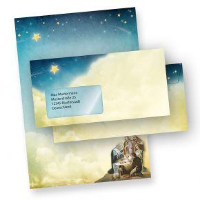 Briefpapier Set Weihnachtsgeschichte (10 Sets mit Fenster) Weihnachtsbriefpapier DIN A4 mit Umschlägen MIT Fenster bedruckt