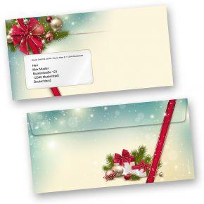 Rote Schleife 50 Stück Weihnachts-Briefumschläge Din lang mit Fenster Umschläge für Weihnachten selbstklebend haftklebend