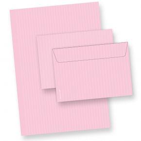 Briefpapier Set ROSA (10 Sets) DIN A4 inkl. Umschläge C6, beidseitig in feinem Nadelstreifen-Design