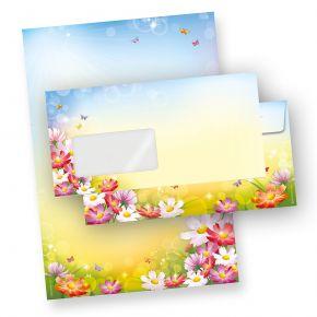 FLORENTINA Briefpapier Set (10 Sets m.F.)  DIN A4 297 x 210mm 90 g/qm,mit Briefumschläge - mit Blumen bunt