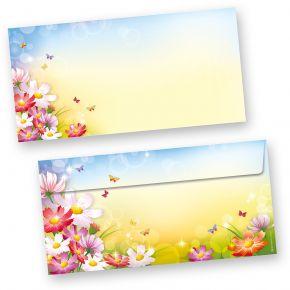 Briefumschläge Florentina (50 Stück) DIN lang Umschläge mit Blumen bunt