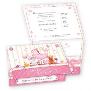 Süße Geburtskarten Mädchen (20 Sets) selbst bedruckbar - mit rosa Schleifchen, eigenes Bild