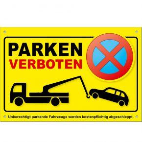 Parkverbotsschilder gelb PS03 (4 Stück) inkl. Löcher + Schrauben