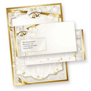 Briefpapier Set Weihnachten GOLDEN ROYAL (25 Sets mit Fensterumschläge) DIN A4 297 x 210mm 90 g/qm, Weihnachtsbriefpapier mit Umschläge