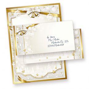 Weihnachtsbriefpapier Set GOLDEN ROYAL (25 Sets ohne Fenster) DIN A4 297 x 210mm 90 g/qm, Briefbogen mit Umschläge