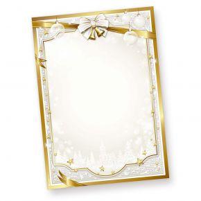 Briefpapier Weihnachten GOLDEN ROYAL (1000 Blatt) goldener Rahmen und Glocken, Briefbogen
