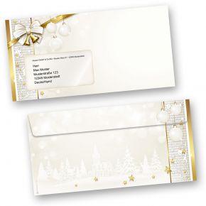Weihnachtsumschläge GOLDEN ROYAL (50 Stück mit Fenster) ein goldener Rahmen und Weihnachtsglocken für Ihre Weihnachtspost