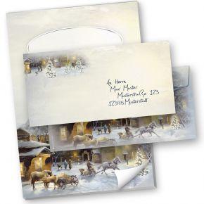 Briefpapier Set Weihnachten WINTER-AQUARELL (40-tlg.) mit Schreibblock A4 und Umschläge