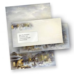 Briefpapier Weihnachten WINTER-AQUARELL (250 Sets mit Fensterumschläge) DIN A4 297 x 210mm 90 g/qm, Weihnachtsbriefpapier mit Umschläge