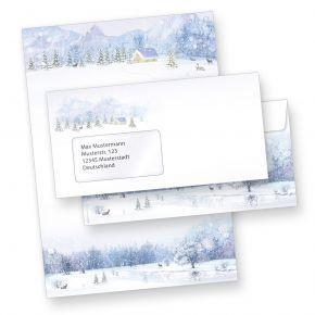 Briefpapier Weiße Weihnacht (100 Sets mit Fensterumschläge) Weihnachtsbriefpapier mit Umschläge
