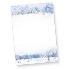 Briefpapier Weiße Weihnacht (100 Blatt) Weihnachtsbriefpapier mit Winterlandschaft