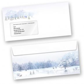 Briefhüllen Weiße Weihnacht (100 Stück mit Fenster) wunderschöne Winterland mit Weihnachtsbaum