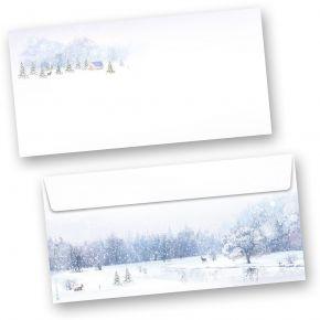 Umschläge Weiße Weihnacht (250 Stück ohne Fenster) wunderschöne Winterland mit Weihnachtsbaum