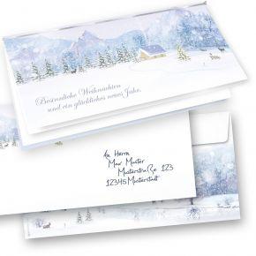 Weiße Weihnachten Weihnachtskarten Set (50 Sets) selbst bedruckbar, mit Umschläge