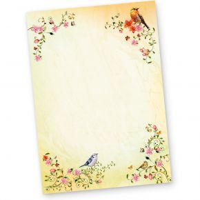 TOSKANA Briefpapier Vögel (20 Blatt)  A4 297 x 210 mm 90 g/qm mit Blumen