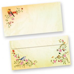 TOSKANA Briefumschläge Blumen  (50 Stück) DIN lang Umschläge mit Vögel selbstklebend mit Haftklebestreifen