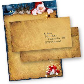 Briefpapier Weihnachten NORDPOL EXPRESS (10 Sets ohne Fenster) DIN A4 90g Weihnachtsbriefpapier mit Umschläge