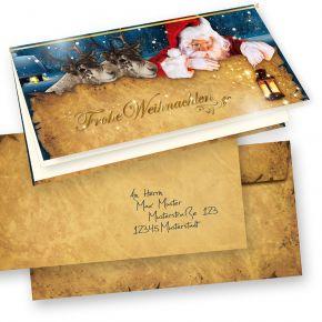 Nordpol Express Weihnachtskarten Set (50 Sets) selbst bedruckbar, mit Umschläge