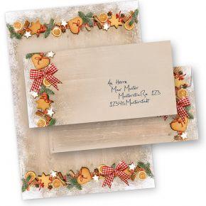 Briefpapier Weihnachten LANDIDYLLE (10 Sets ohne Fenster) Weihnachtsbriefpapier A4 mit Briefumschlägen