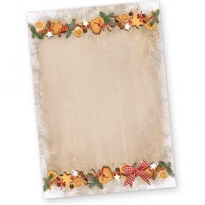 Briefpapier Weihnachten LANDIDYLLE (250 Blatt) Weihnachtsbriefpapier mit Plätzchen
