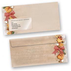 Briefumschläge Weihnachten LANDIDYLLE (100 Stück mit Fenster) mit Plätzchen