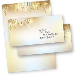 Briefbogen Weihnachten Set STARDREAMS (25 Sets ohne Fenster) DIN A4 90g Weihnachtsbriefpapier mit Umschläge