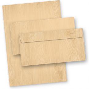Briefpapier Set MADEIRA Holz-Optik (10 Sets) mit Umschläge Holzmaserung Holzmuster Struktur, 90 g/qm DIN A4