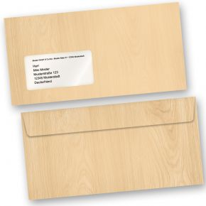 Briefumschläge MADEIRA Holz-Optik Braun (50 Stück m.F.) DIN lang MIT Fenster Haftklebend Holzmaserung Holzmuster