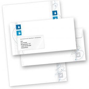 Blue Modern Art 25 Sets Weihnachtsbriefpapier mit Fensterumschlägen geschäftlich