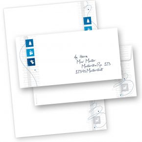 Blue Modern Art 250 Sets Weihnachtsbriefpapier mit Umschläge ohne Fenster, für Geschäftskunden