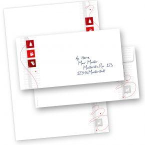Red Modern Art 250 Sets Weihnachtsbriefpapier mit Umschläge ohne Fenster, für Geschäftskunden