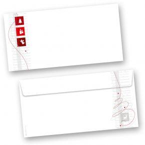 Red Modern Art 50 Stück Briefumschläge Weihnachten Din lang ohne Fenster Umschläge für Weihnachten selbstklebend haftklebend