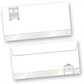 Business Design 50 Stück Weihnachts-Umschläge Din lang ohne Fenster Umschläge für Weihnachten selbstklebend haftklebend