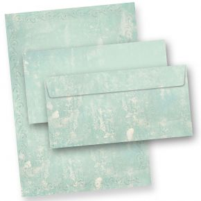 Briefpapier Set Türkis Grün marmoriert (10 Sets) Vintage A4 297 x 210 mm 90 g/qm mit Umschläge