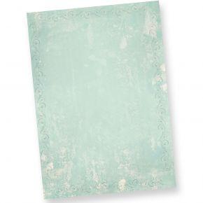 Briefpapier Türkis Grün marmoriert (20 Blatt) Vintage-Retro Beidseitig DIN A4 297 x 210 mm 90 g/qm