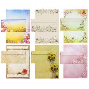 Briefpapier Set - Mix Blumen - 6 verschiedene Motive je 5 Briefpapiere und je 5 passende Briefumschläge