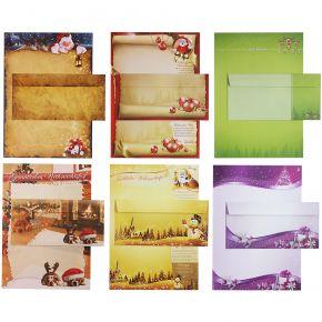 Briefpapier Set - Mix Weihnachten WM01 - 6 verschiedene Motive je 5 Briefpapiere und je 5 passende Briefumschläge