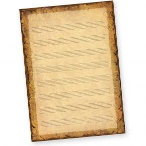 Notenblätter Vintage alt A4 (50 Blatt) Notenpapier A4 mit historisch altem Hintergrund, beidseitig bedruckt