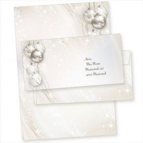 ELEGANCE 10 Sets Weihnachtsbriefpapier mit Umschlag ohne Fenster, Briefpapier Weihnachten A4