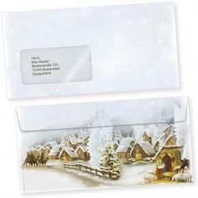 Weihnachtsdorf 50 Stück Weihnachts-Briefumschläge Din lang mit Fenster Umschläge für Weihnachten selbstklebend haftklebend