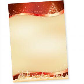 ROT GOLD 50 Blatt Weihnachtsbriefpapier, Briefpapier Weihnachten, Weihnachtspapier A4 geschäftlich & privat