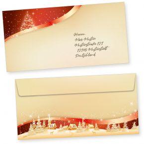 ROT GOLD 50 Stück Briefumschläge Weihnachten Din lang ohne Fenster Umschläge für Weihnachten selbstklebend haftklebend