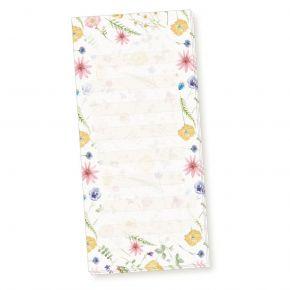 Notizblock Flora-Bianca liniert (4 Stück) Notizzettel Blumen mit feiner Lineatur