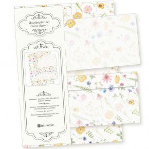 Flora-Bianca Briefpapier Set 10 Sets DIN A4 90 g/qm inkl. florale Briefumschläge - nachhaltig gedruckt